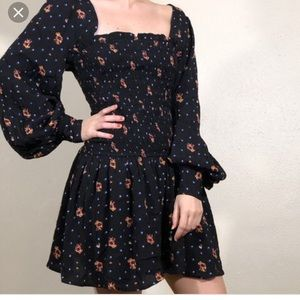 Free People boho smocked two faces dress floral